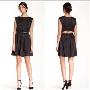 Alice & Olivia Sayah Silk Leather Cut out Dress M